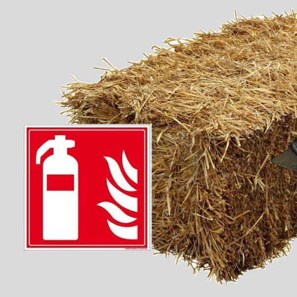 Pitogramme extincteur et botte de paille pour illluster la sécurité incendie des ouvrages isolés en paille